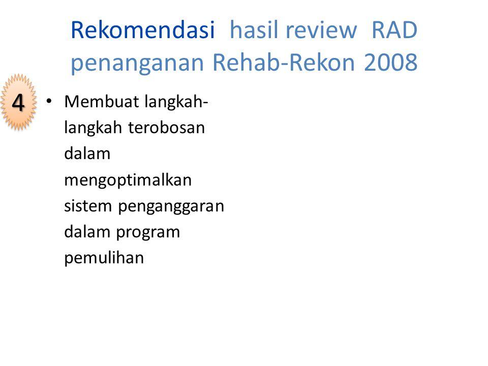 Rekomendasi hasil review RAD penanganan Rehab-Rekon 2008 Meningkatkan koordinasi antar lembaga donor untuk meminimalisasi kemungkinan tumpang tindih aksi dan tidak meratanya bantuan bagi para korban 33