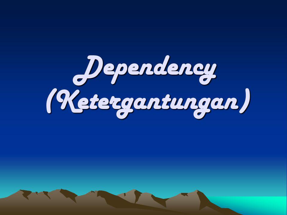  Dependensi Total Suatu atribut Y mempunyai ketergantungan total pada atribut X jika: –Y memiliki ketergantungan fungsi terhadap X –X memiliki ketergantungan fungsi terhadap Y –Notasi : X  Y