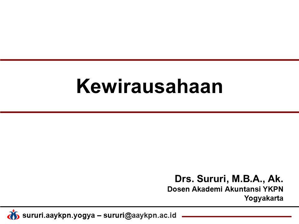 sururi.aaykpn.yogya – sururi@aaykpn.ac.id Kewirausahaan Drs. Sururi, M.B.A., Ak. Dosen Akademi Akuntansi YKPN Yogyakarta