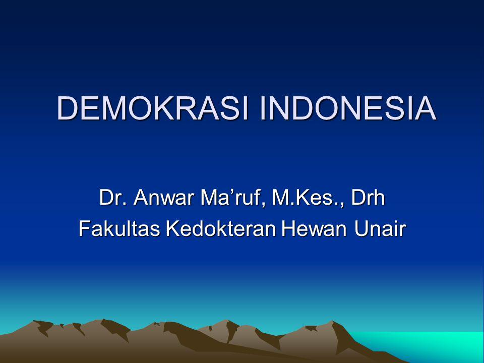 DEMOKRASI INDONESIA Dr. Anwar Ma'ruf, M.Kes., Drh Fakultas Kedokteran Hewan Unair
