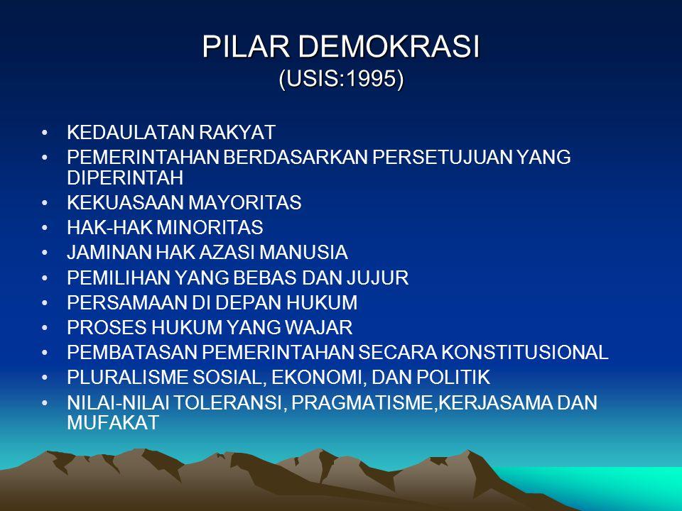 PILAR DEMOKRASI (USIS:1995) KEDAULATAN RAKYAT PEMERINTAHAN BERDASARKAN PERSETUJUAN YANG DIPERINTAH KEKUASAAN MAYORITAS HAK-HAK MINORITAS JAMINAN HAK A