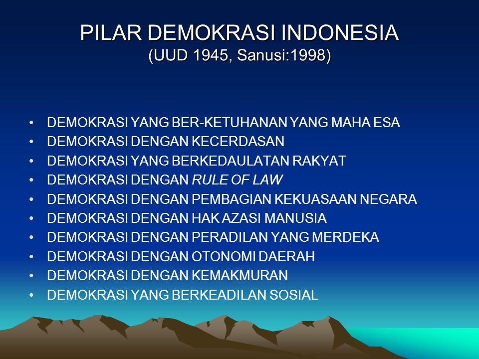 PILAR DEMOKRASI INDONESIA (UUD 1945, Sanusi:1998) DEMOKRASI YANG BER-KETUHANAN YANG MAHA ESA DEMOKRASI DENGAN KECERDASAN DEMOKRASI YANG BERKEDAULATAN