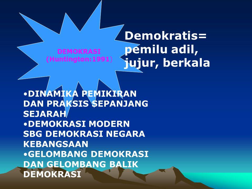Demokrasi dlm Piagam Madinah (Sukidi dalam Tilaar:1999) Kebebasan beragama Persaudaraan seagama Persatuan politik dalam meraih cita-cita bersama Saling membantu Persamaan hak dan kewajiban w.n.