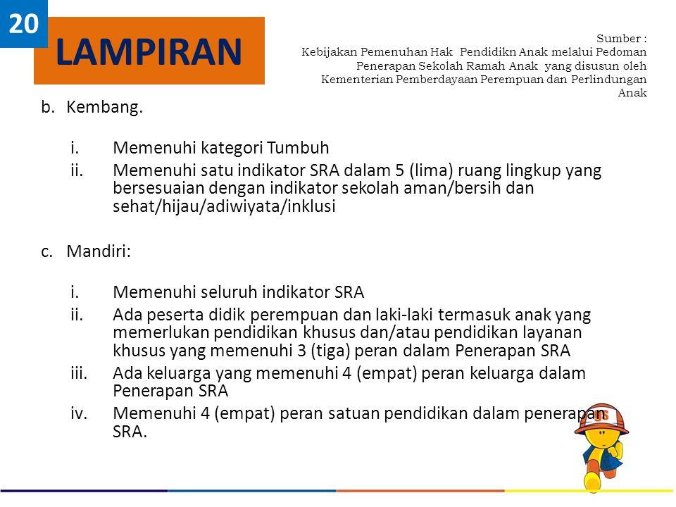 b.Kembang. i.Memenuhi kategori Tumbuh ii.Memenuhi satu indikator SRA dalam 5 (lima) ruang lingkup yang bersesuaian dengan indikator sekolah aman/bersi