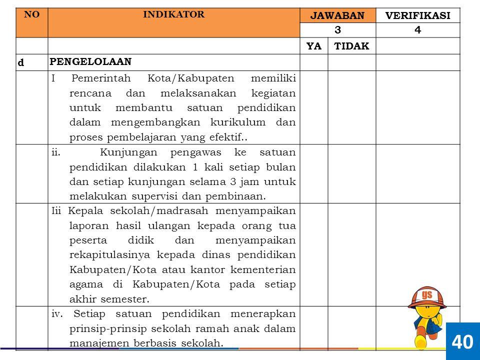 NOINDIKATOR JAWABANVERIFIKASI 34 YATIDAK d PENGELOLAAN I Pemerintah Kota/Kabupaten memiliki rencana dan melaksanakan kegiatan untuk membantu satuan pe