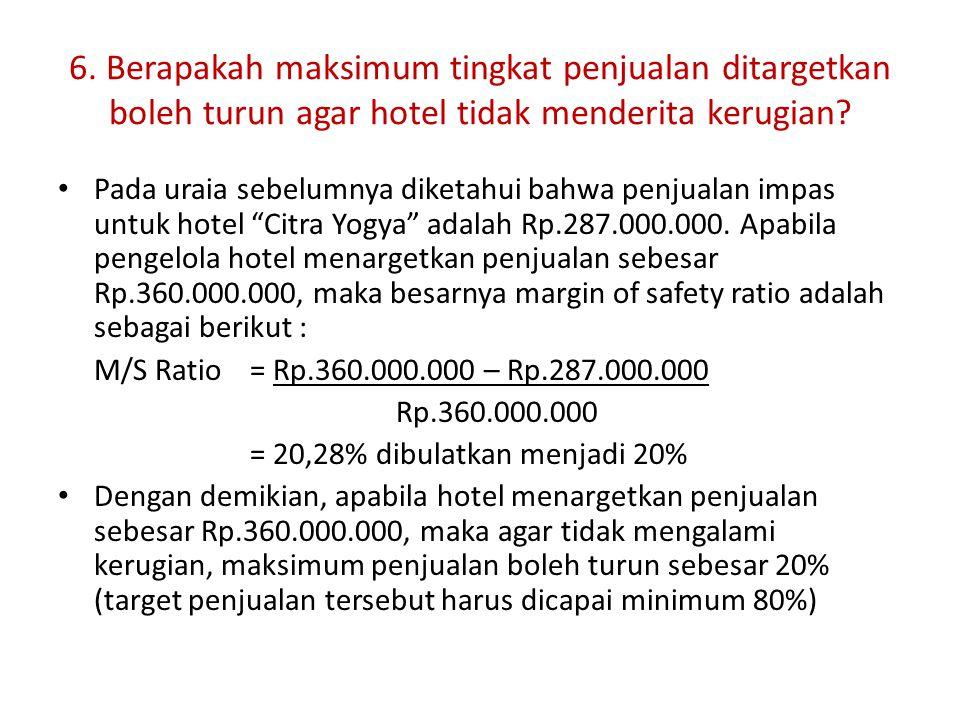 6. Berapakah maksimum tingkat penjualan ditargetkan boleh turun agar hotel tidak menderita kerugian? Pada uraia sebelumnya diketahui bahwa penjualan i