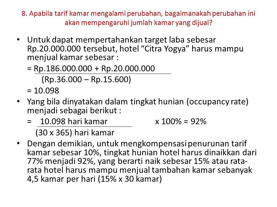8. Apabila tarif kamar mengalami perubahan, bagaimanakah perubahan ini akan mempengaruhi jumlah kamar yang dijual? Untuk dapat mempertahankan target l