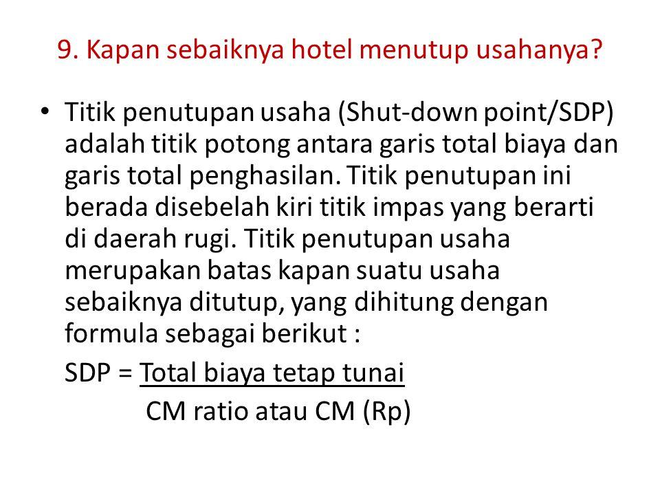 9. Kapan sebaiknya hotel menutup usahanya? Titik penutupan usaha (Shut-down point/SDP) adalah titik potong antara garis total biaya dan garis total pe