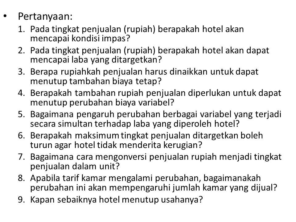 Pertanyaan: 1.Pada tingkat penjualan (rupiah) berapakah hotel akan mencapai kondisi impas? 2.Pada tingkat penjualan (rupiah) berapakah hotel akan dapa