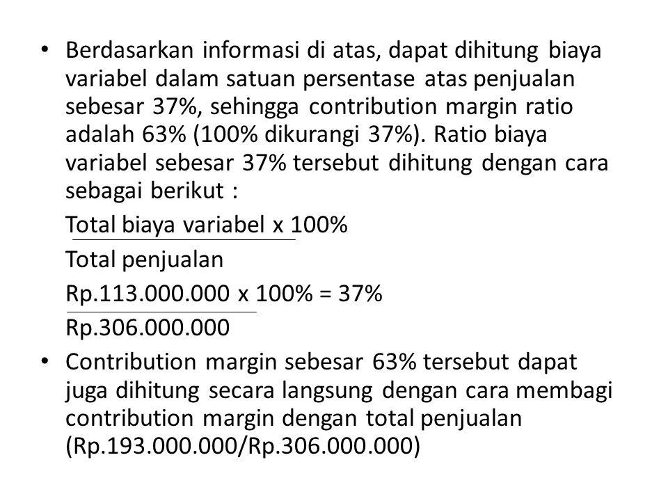 1.Pada tingkat penjualan (rupiah) berapakah hotel akan mencapai kondisi impas.