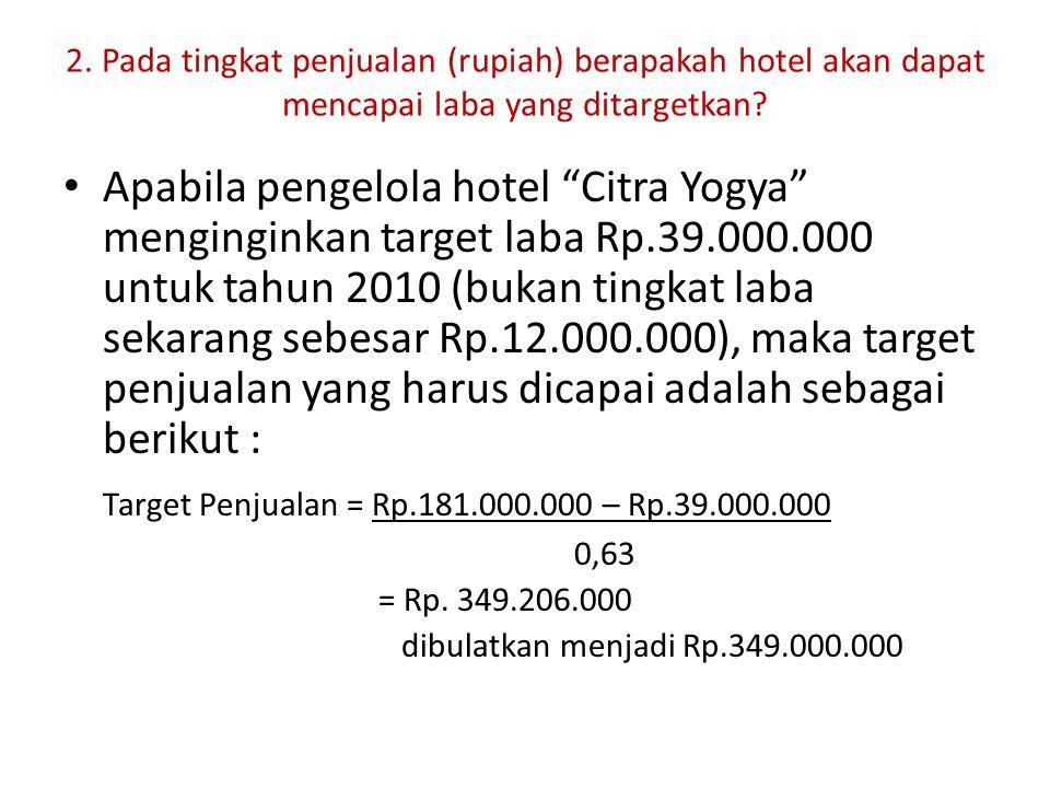 "2. Pada tingkat penjualan (rupiah) berapakah hotel akan dapat mencapai laba yang ditargetkan? Apabila pengelola hotel ""Citra Yogya"" menginginkan targe"