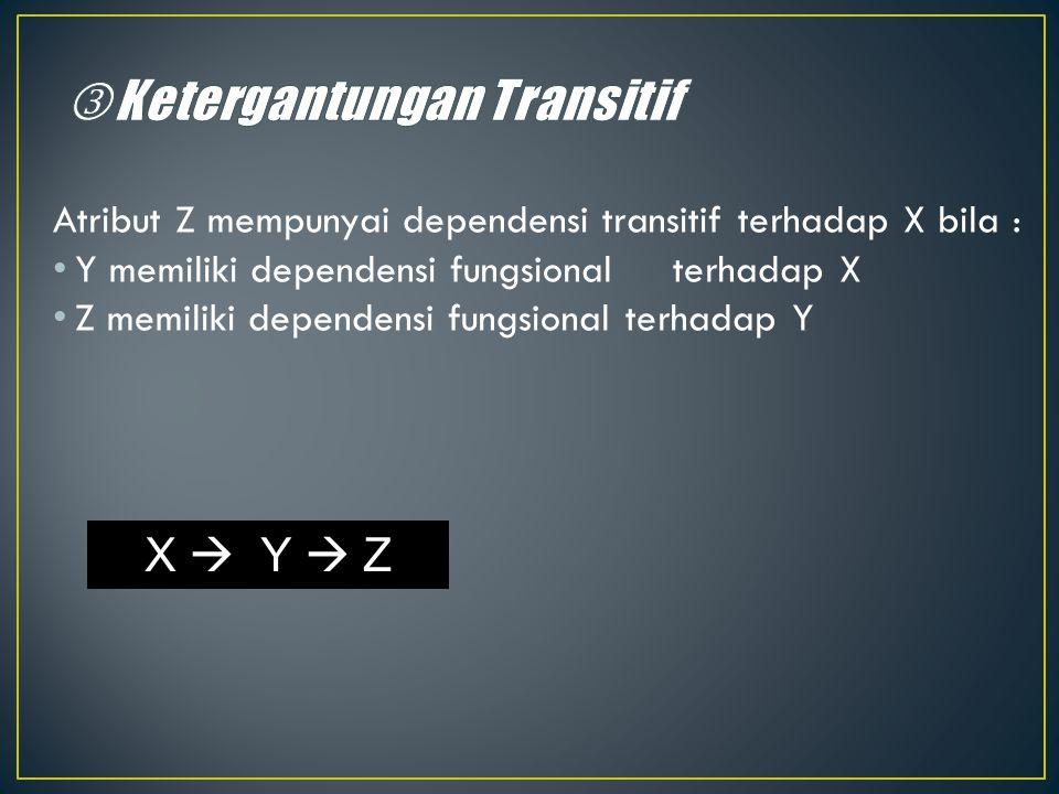 Atribut Z mempunyai dependensi transitif terhadap X bila : Y memiliki dependensi fungsional terhadap X Z memiliki dependensi fungsional terhadap Y X 