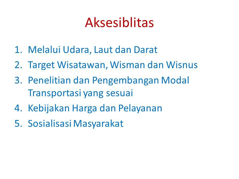 Aksesiblitas 1.Melalui Udara, Laut dan Darat 2.Target Wisatawan, Wisman dan Wisnus 3.Penelitian dan Pengembangan Modal Transportasi yang sesuai 4.Kebijakan Harga dan Pelayanan 5.Sosialisasi Masyarakat