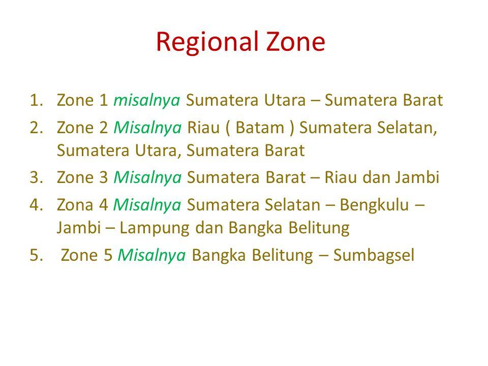 Regional Zone 1.Zone 1 misalnya Sumatera Utara – Sumatera Barat 2.Zone 2 Misalnya Riau ( Batam ) Sumatera Selatan, Sumatera Utara, Sumatera Barat 3.Zone 3 Misalnya Sumatera Barat – Riau dan Jambi 4.Zona 4 Misalnya Sumatera Selatan – Bengkulu – Jambi – Lampung dan Bangka Belitung 5.