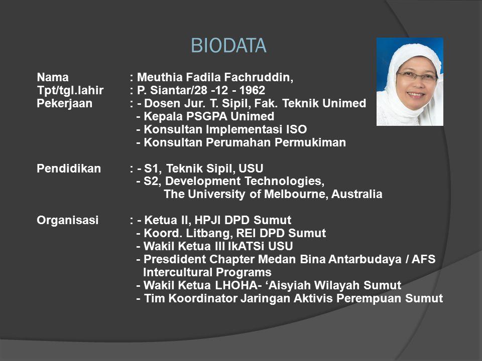 2009  Delegasi Sumut memajukan perumahan permukiman yang berperspektif gender dan ramah anak pada: Dialog Perumahan dan Permukiman Wilayah Barat di Batam Pra Kongres Perumahan di Jakarta Kongres Perumahan di Jakarta