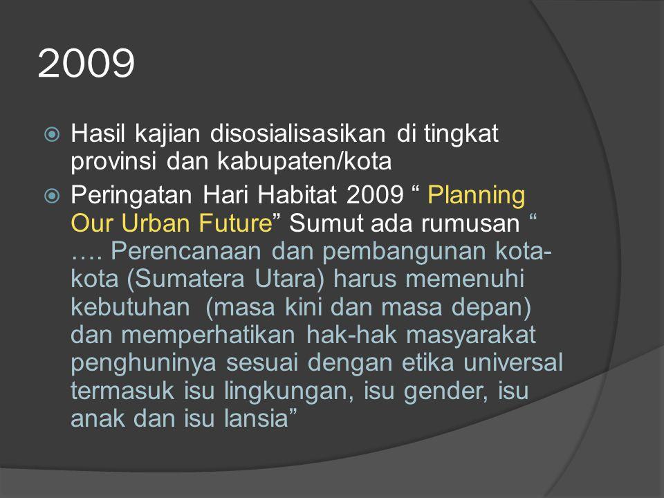 "2009  Hasil kajian disosialisasikan di tingkat provinsi dan kabupaten/kota  Peringatan Hari Habitat 2009 "" Planning Our Urban Future"" Sumut ada rumu"