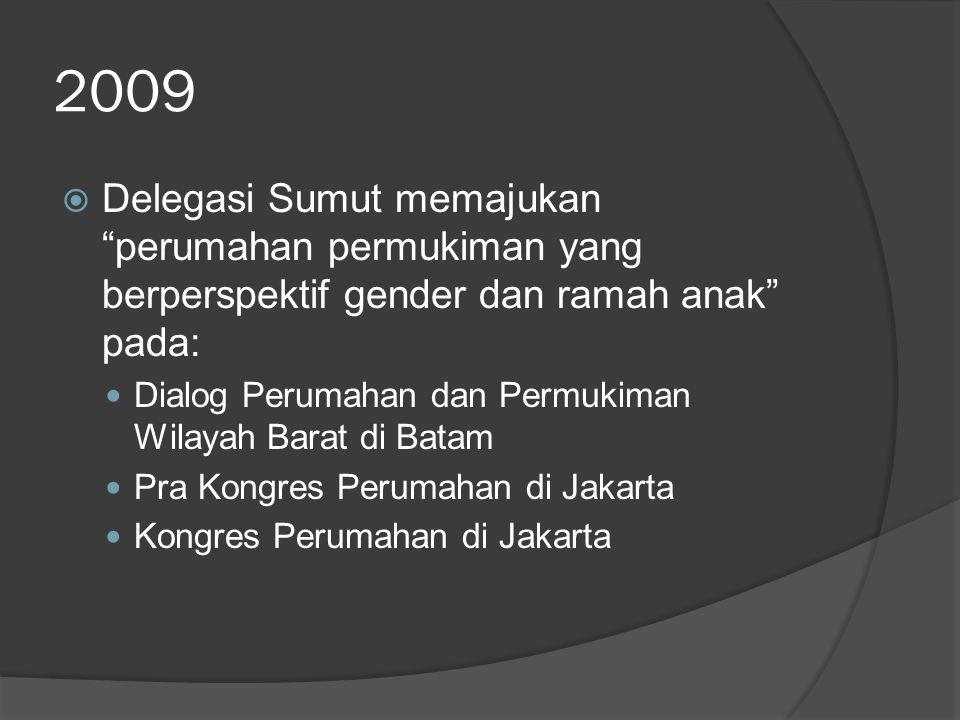 """2009  Delegasi Sumut memajukan """"perumahan permukiman yang berperspektif gender dan ramah anak"""" pada: Dialog Perumahan dan Permukiman Wilayah Barat di"""