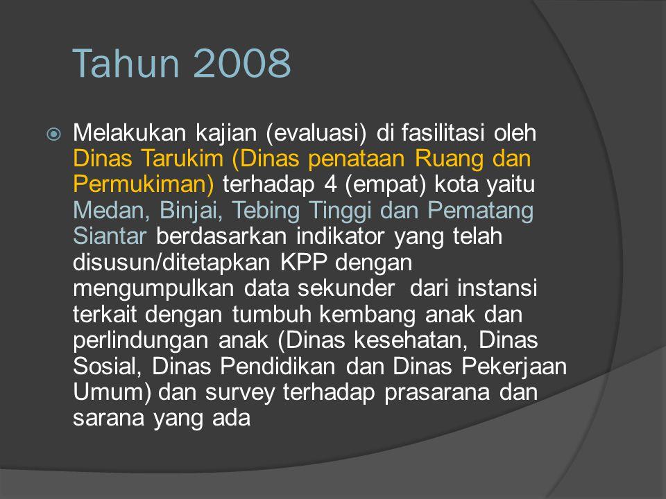 Tahun 2008  Melakukan kajian (evaluasi) di fasilitasi oleh Dinas Tarukim (Dinas penataan Ruang dan Permukiman) terhadap 4 (empat) kota yaitu Medan, B