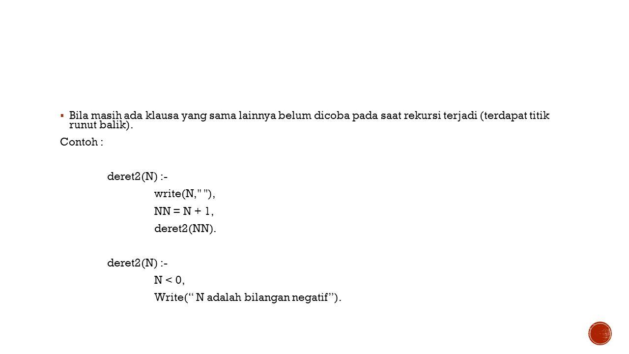  Bila masih ada klausa yang sama lainnya belum dicoba pada saat rekursi terjadi (terdapat titik runut balik). Contoh : deret2(N) :- write(N,