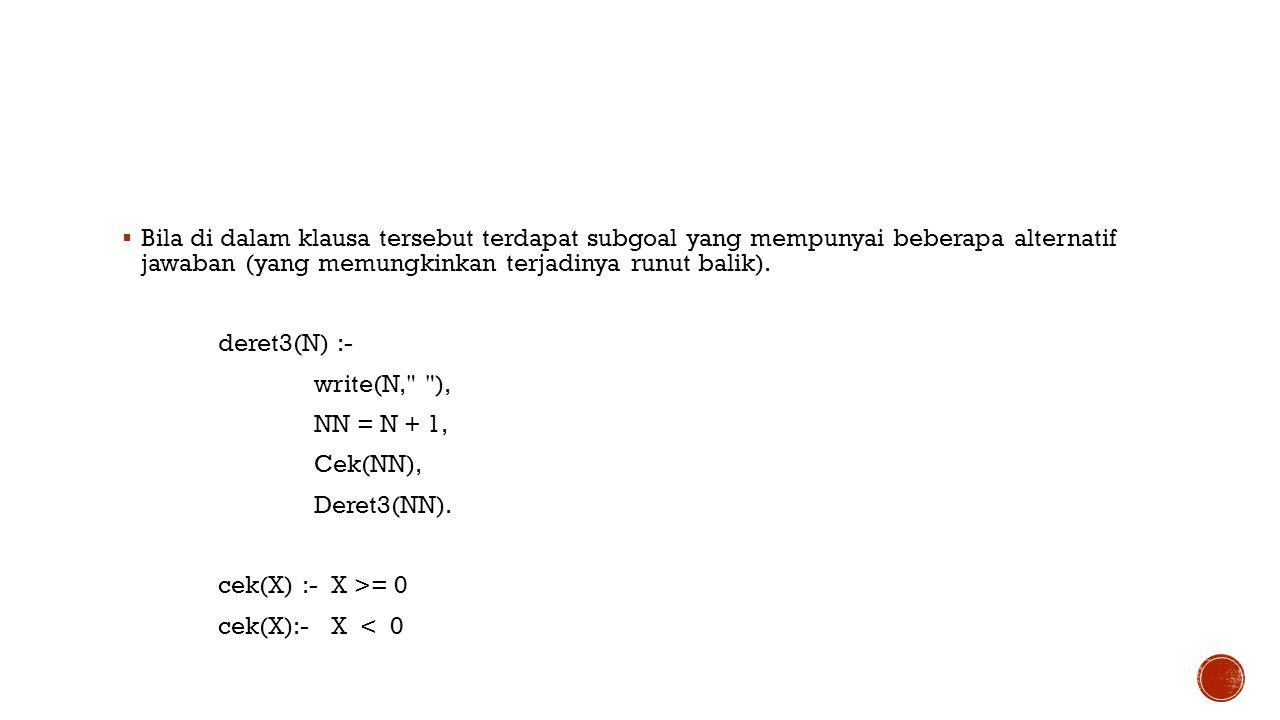  Bila di dalam klausa tersebut terdapat subgoal yang mempunyai beberapa alternatif jawaban (yang memungkinkan terjadinya runut balik). deret3(N) :- w