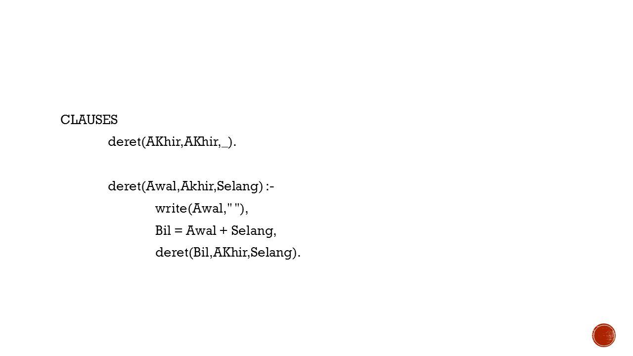 CLAUSES deret(AKhir,AKhir,_). deret(Awal,Akhir,Selang) :- write(Awal,