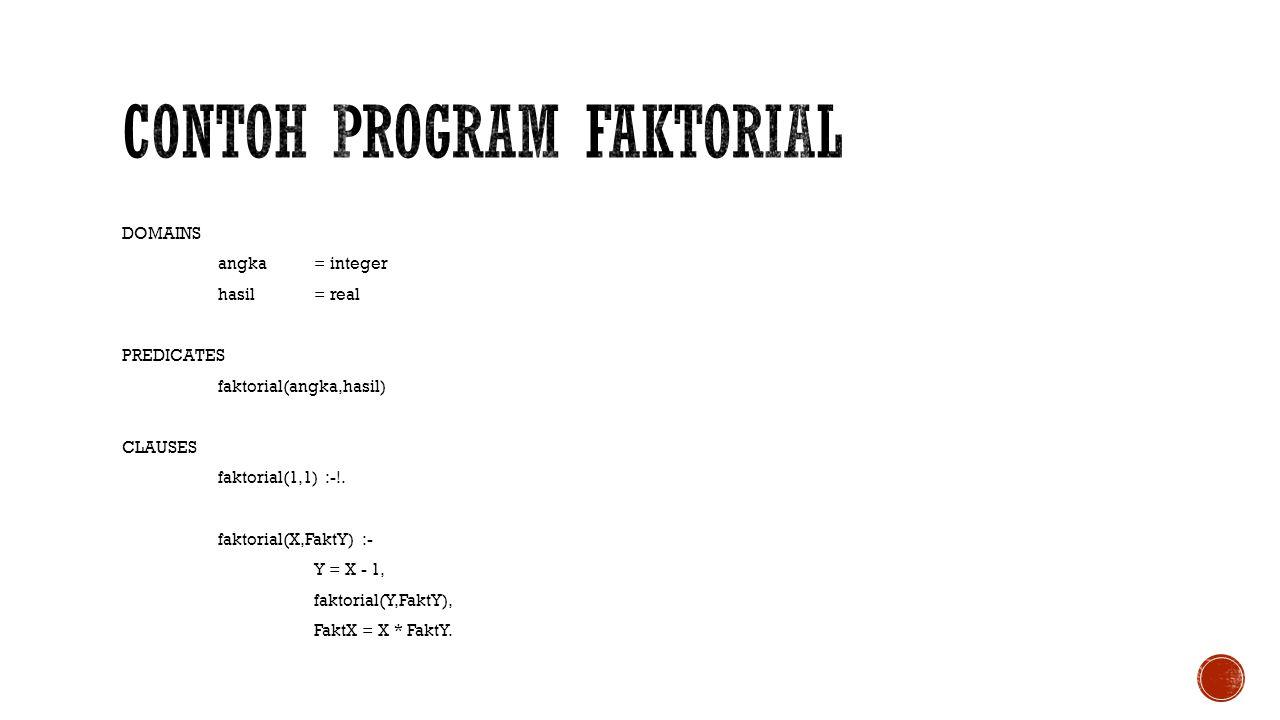 DOMAINS angka= integer hasil= real PREDICATES faktorial(angka,hasil) CLAUSES faktorial(1,1) :-!. faktorial(X,FaktY) :- Y = X - 1, faktorial(Y,FaktY),