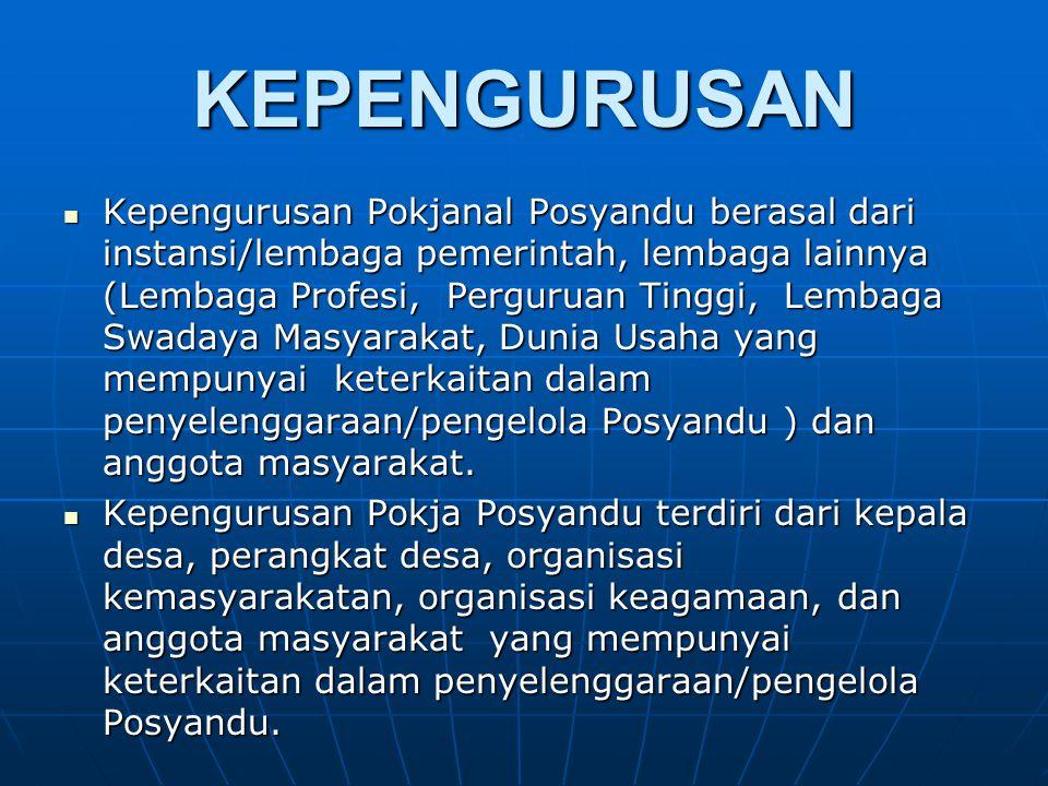 KEPENGURUSAN Kepengurusan Pokjanal Posyandu berasal dari instansi/lembaga pemerintah, lembaga lainnya (Lembaga Profesi, Perguruan Tinggi, Lembaga Swad