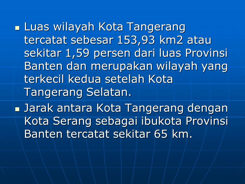 Luas wilayah Kota Tangerang tercatat sebesar 153,93 km2 atau sekitar 1,59 persen dari luas Provinsi Banten dan merupakan wilayah yang terkecil kedua s