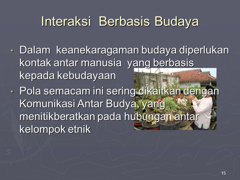 15 Interaksi Berbasis Budaya Dalam keanekaragaman budaya diperlukan kontak antar manusia yang berbasis kepada kebudayaan Dalam keanekaragaman budaya d