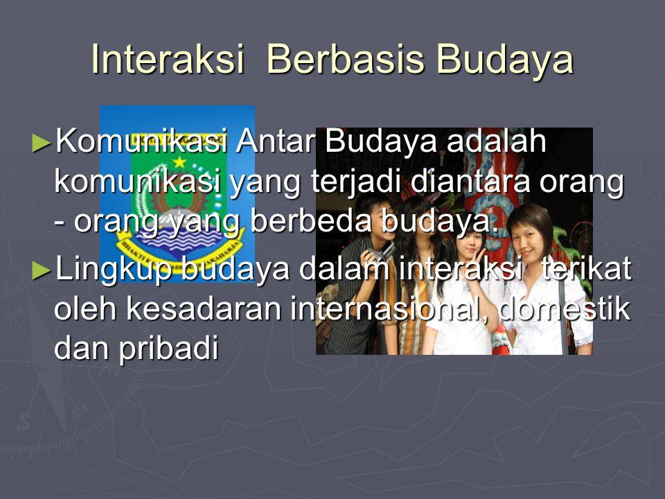 Interaksi Berbasis Budaya ► Komunikasi Antar Budaya adalah komunikasi yang terjadi diantara orang - orang yang berbeda budaya. ► Lingkup budaya dalam