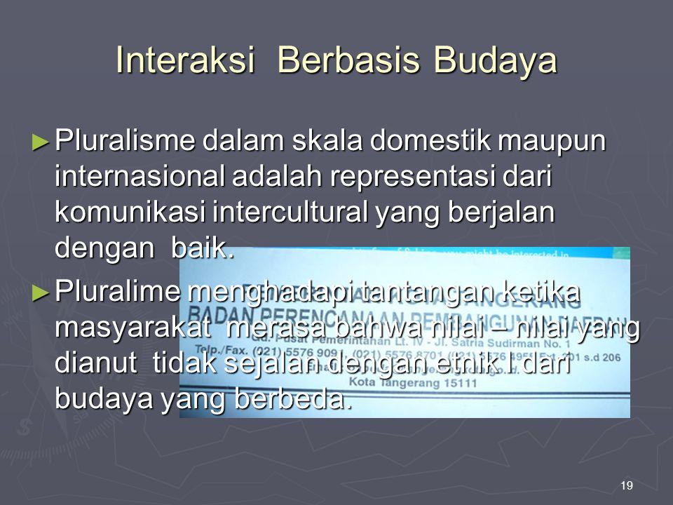 19 Interaksi Berbasis Budaya ► Pluralisme dalam skala domestik maupun internasional adalah representasi dari komunikasi intercultural yang berjalan de