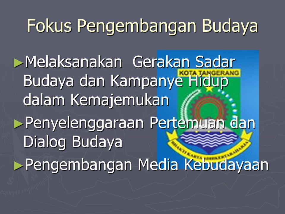 Fokus Pengembangan Budaya ► Penghargaan kepada media yang peduli terhadap budaya Kota Tangerang ► Penulisan Sejarah Kota Tangerang ► Penyelenggaraan Festival Kesenian dalam skala lokal, nasional maupun internasional