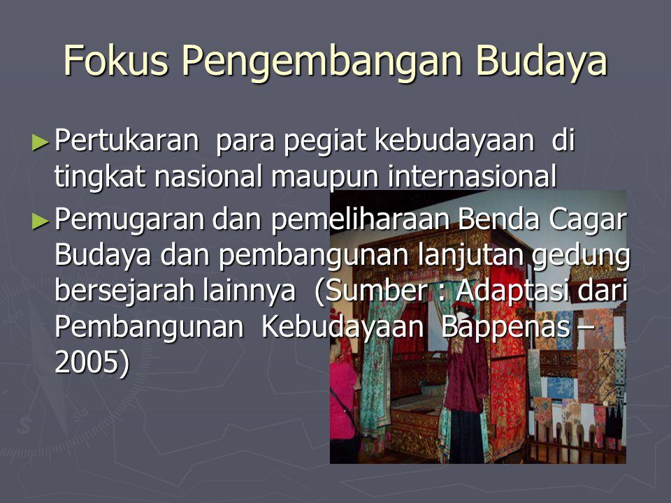 Fokus Pengembangan Budaya ► Pertukaran para pegiat kebudayaan di tingkat nasional maupun internasional ► Pemugaran dan pemeliharaan Benda Cagar Budaya