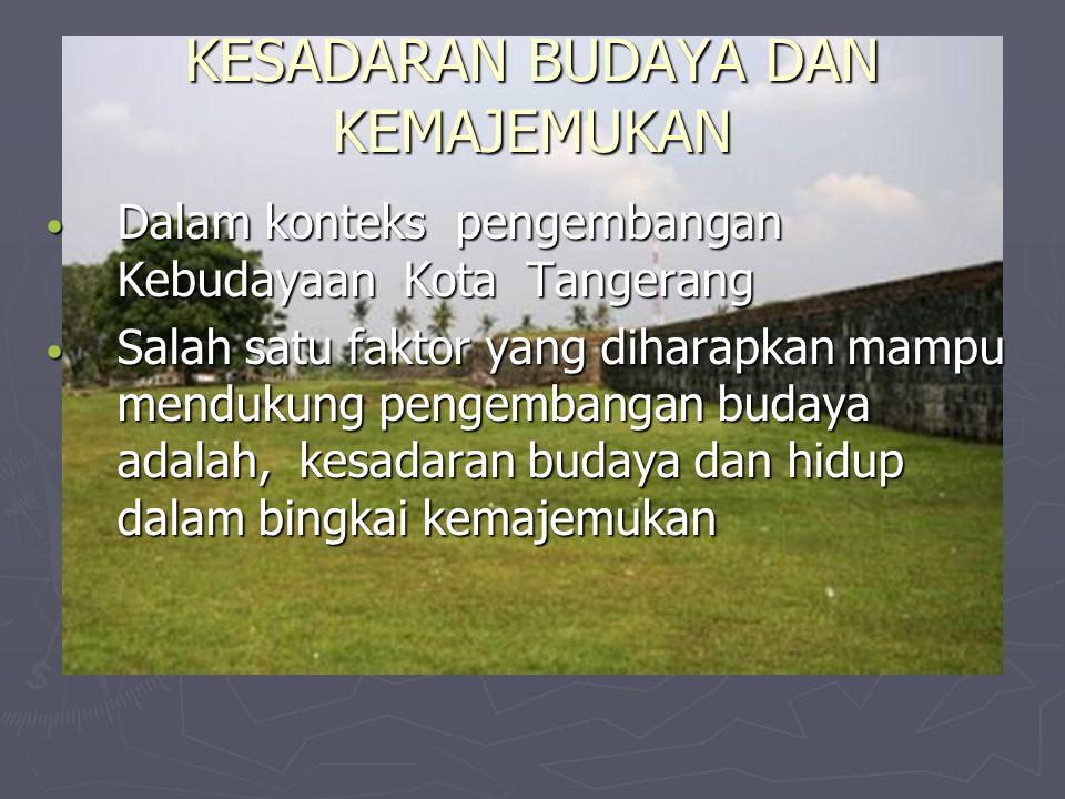 KESADARAN BUDAYA DAN KEMAJEMUKAN Dalam konteks pengembangan Kebudayaan Kota Tangerang Dalam konteks pengembangan Kebudayaan Kota Tangerang Salah satu