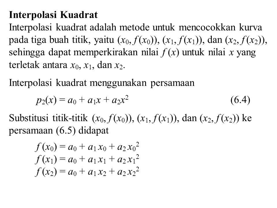 Interpolasi Kuadrat Interpolasi kuadrat adalah metode untuk mencocokkan kurva pada tiga buah titik, yaitu (x 0, f (x 0 )), (x 1, f (x 1 )), dan (x 2,