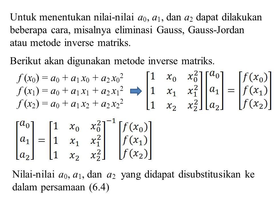 Untuk menentukan nilai-nilai a 0, a 1, dan a 2 dapat dilakukan beberapa cara, misalnya eliminasi Gauss, Gauss-Jordan atau metode inverse matriks. Beri