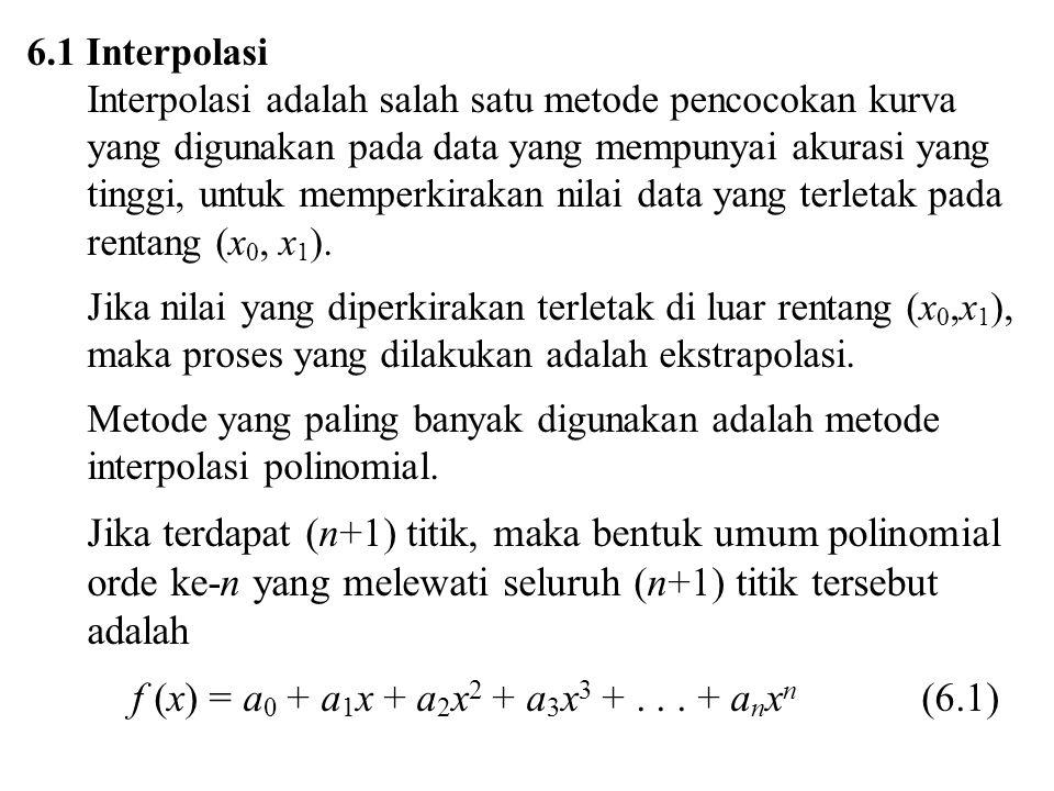 6.1 Interpolasi Interpolasi adalah salah satu metode pencocokan kurva yang digunakan pada data yang mempunyai akurasi yang tinggi, untuk memperkirakan