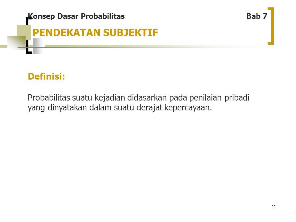 11 PENDEKATAN SUBJEKTIF Konsep Dasar Probabilitas Bab 7 Definisi: Probabilitas suatu kejadian didasarkan pada penilaian pribadi yang dinyatakan dalam