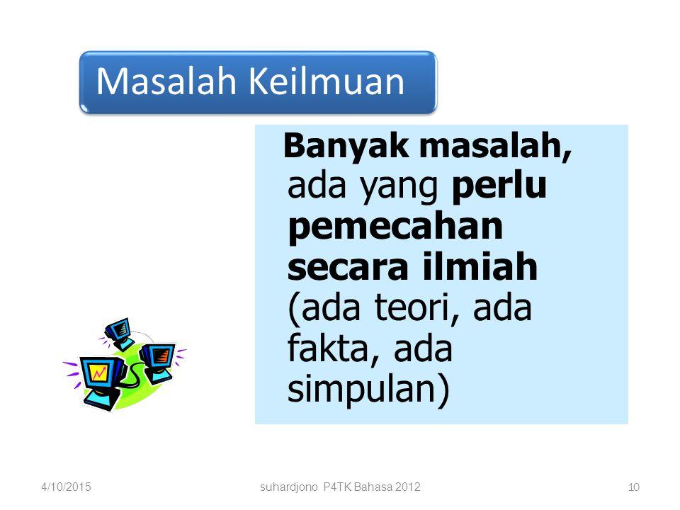 suhardjono P4TK Bahasa 2012 9 diterima ditolak deduksi induksi Suriasumantri, 129 Khasanah Empirik Khasanah Teori Khasanah Teori Perumusan Masalah Uji