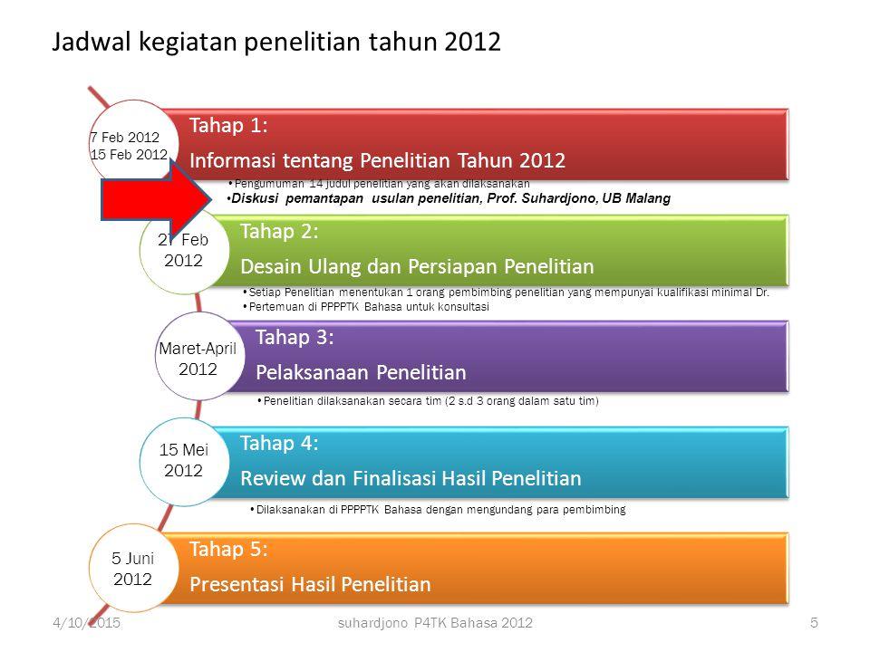 suhardjono P4TK Bahasa 2012 Satu istri, tiga anak, tiga mantu, enam cucu 4/10/2015 4