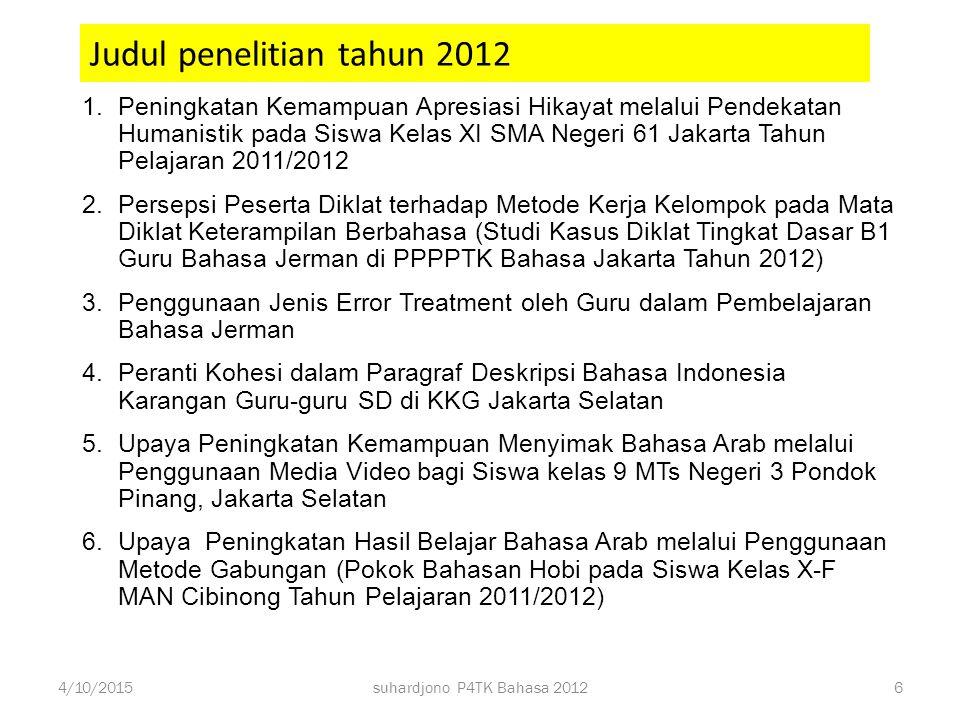 Jadwal kegiatan penelitian tahun 2012 Tahap 1: Informasi tentang Penelitian Tahun 2012 Tahap 2: Desain Ulang dan Persiapan Penelitian Tahap 3: Pelaksa