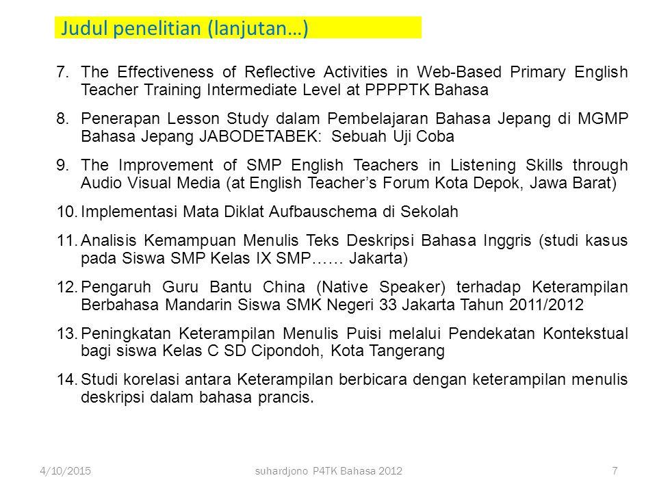 Judul penelitian tahun 2012 1.Peningkatan Kemampuan Apresiasi Hikayat melalui Pendekatan Humanistik pada Siswa Kelas XI SMA Negeri 61 Jakarta Tahun Pe