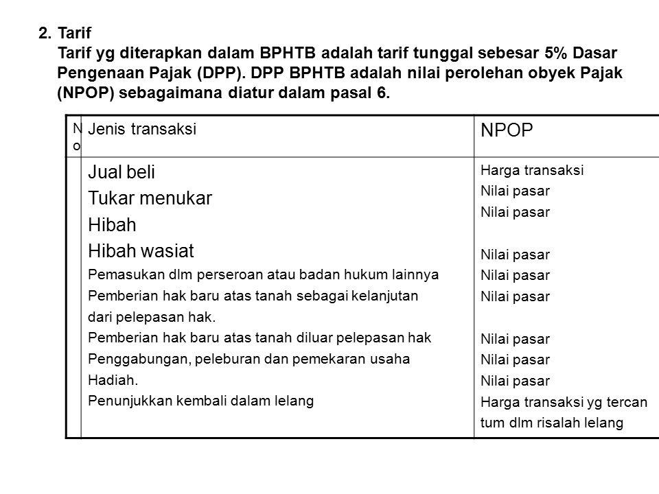2. Tarif Tarif yg diterapkan dalam BPHTB adalah tarif tunggal sebesar 5% Dasar Pengenaan Pajak (DPP). DPP BPHTB adalah nilai perolehan obyek Pajak (NP