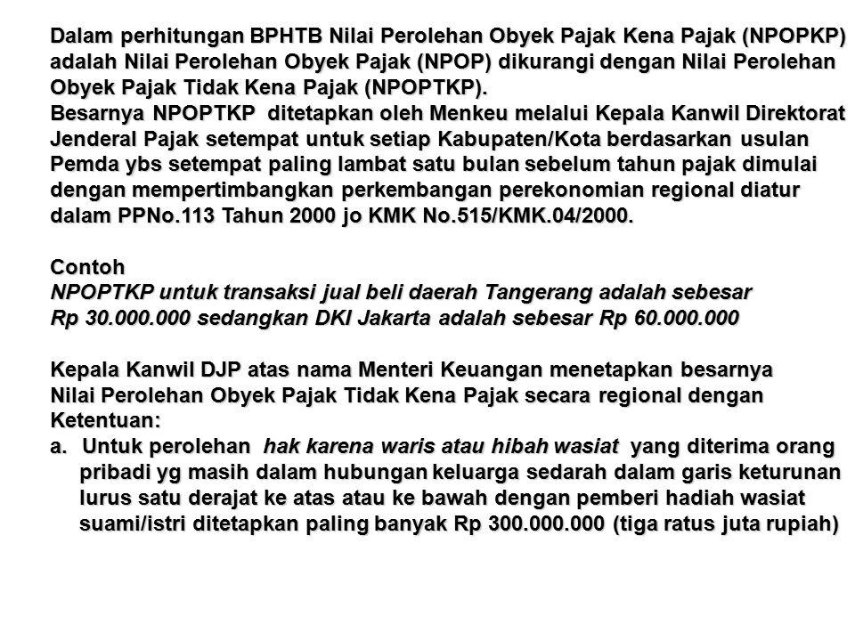 Dalam perhitungan BPHTB Nilai Perolehan Obyek Pajak Kena Pajak (NPOPKP) adalah Nilai Perolehan Obyek Pajak (NPOP) dikurangi dengan Nilai Perolehan Obyek Pajak Tidak Kena Pajak (NPOPTKP).
