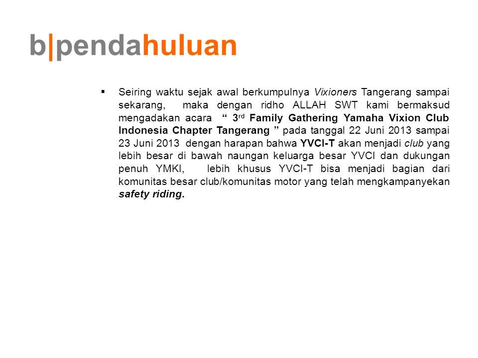 b pendahuluan  Seiring waktu sejak awal berkumpulnya Vixioners Tangerang sampai sekarang, maka dengan ridho ALLAH SWT kami bermaksud mengadakan acara