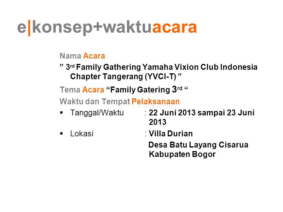 "e konsep+waktuacara Nama Acara "" 3 rd Family Gathering Yamaha Vixion Club Indonesia Chapter Tangerang (YVCI-T) "" Tema Acara ""Family Gatering 3 rd "" Wa"