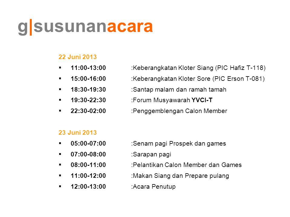 g susunanacara 22 Juni 2013  11:00-13:00:Keberangkatan Kloter Siang (PIC Hafiz T-118)  15:00-16:00:Keberangkatan Kloter Sore (PIC Erson T-081)  18: