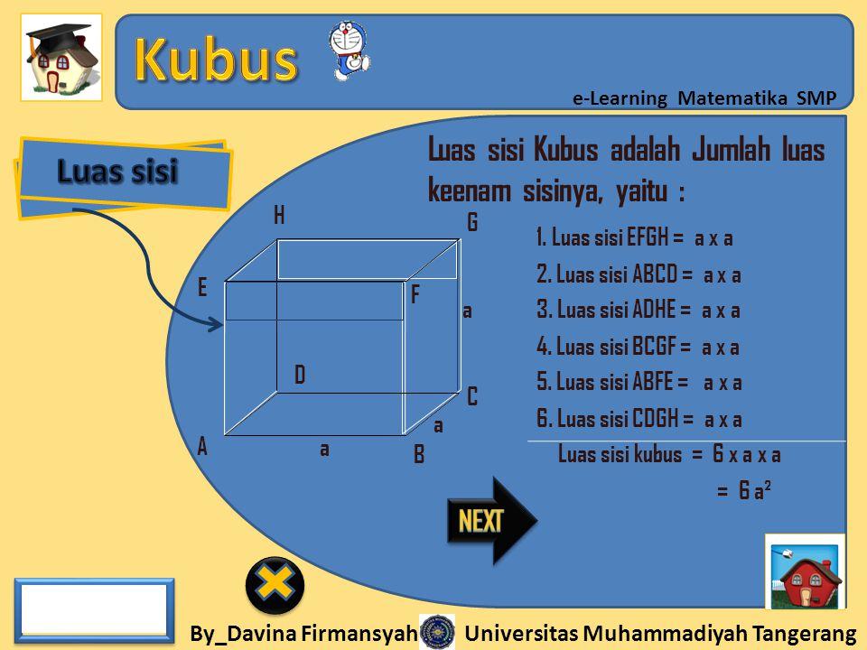 By_Davina Firmansyah Universitas Muhammadiyah Tangerang e-Learning Matematika SMP A B C D E F G H 1. Luas sisi EFGH = a x a a a a 2. Luas sisi ABCD =