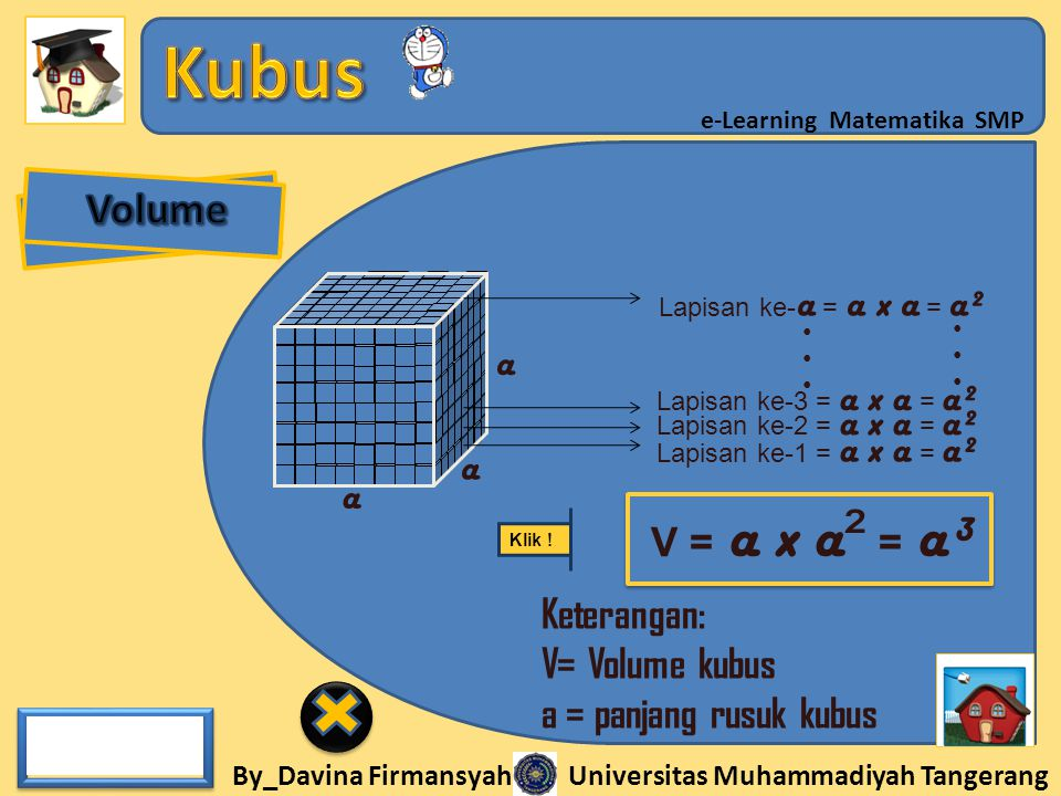 By_Davina Firmansyah Universitas Muhammadiyah Tangerang e-Learning Matematika SMP V = a x a ² = a³ Keterangan: V= Volume kubus a = panjang rusuk kubus