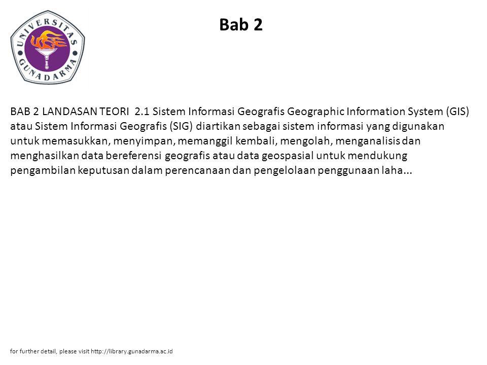 Bab 2 BAB 2 LANDASAN TEORI 2.1 Sistem Informasi Geografis Geographic Information System (GIS) atau Sistem Informasi Geografis (SIG) diartikan sebagai